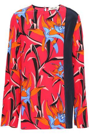 DIANE VON FURSTENBERG Floral-print silk crepe de chine top
