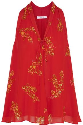 DEREK LAM 10 CROSBY Floral-print crepe de chine top