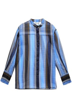DIANE VON FURSTENBERG Striped silk-organza shirt