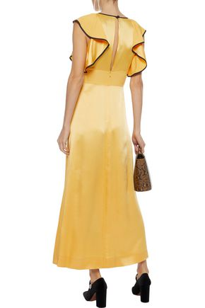 ALEXACHUNG Ruffled satin-crepe midi dress