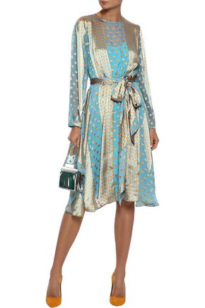 DIANE VON FURSTENBERG Polka-dot satin-paneled fil coupé silk-blend chiffon dress