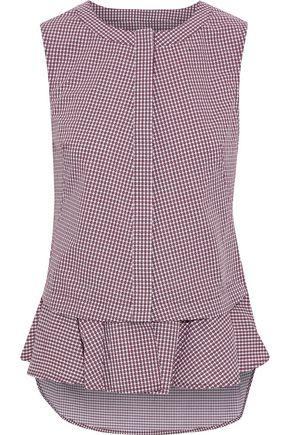 DEREK LAM Gingham cotton-poplin peplum blouse