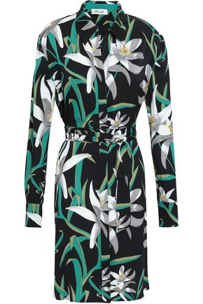DIANE VON FURSTENBERG Printed stretch-silk crepe de chine shirt dress