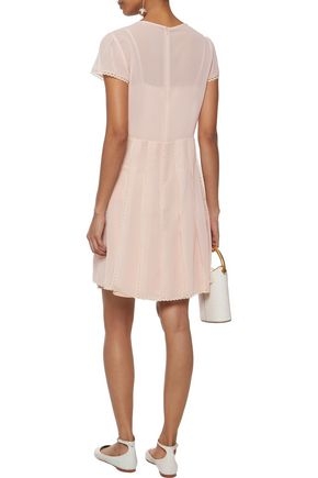 REDValentino Lace-trimmed pleated chiffon mini dress