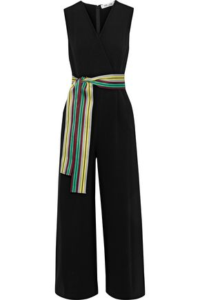 DIANE VON FURSTENBERG Striped satin-trimmed crepe jumpsuit