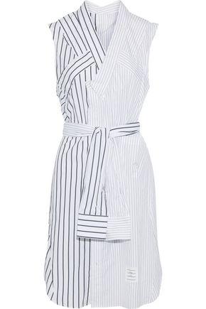 THOM BROWNE Tie-front pinstriped cotton-poplin shirt dress