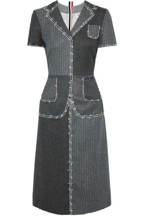THOM BROWNE Patchwork printed wool-felt midi dress