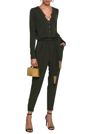 MICHAEL MICHAEL KORS Belted lace-up stretch-jersey jumpsuit