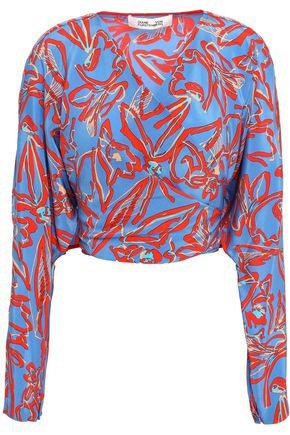 DIANE VON FURSTENBERG Cropped printed silk crepe de chine wrap blouse
