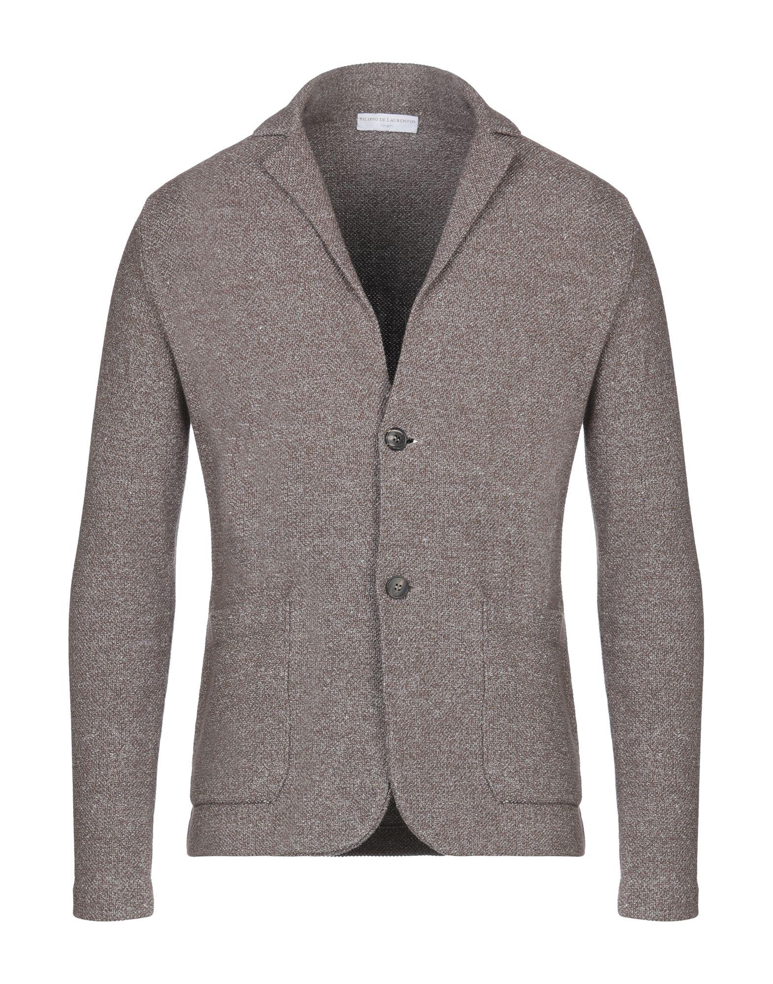 《セール開催中》FILIPPO DE LAURENTIIS メンズ テーラードジャケット ブラウン 50 コットン 64% / 麻 36%
