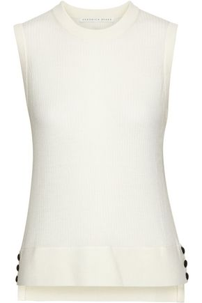 Button Embellished Ribbed Wool Top by Veronica Beard