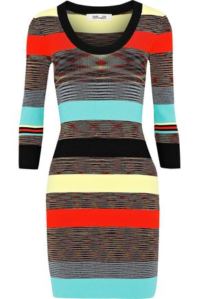 DIANE VON FURSTENBERG Striped ribbed-knit mini dress