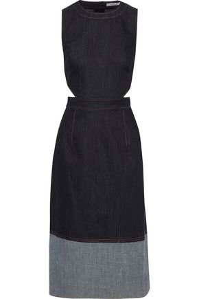 DEREK LAM 10 CROSBY Cutout two-tone denim dress