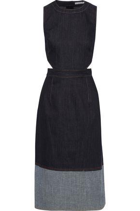DEREK LAM 10 CROSBY Cutout two-tone denim midi dress
