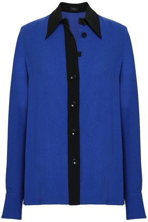 JOSEPH Two-tone stretch-crepe shirt
