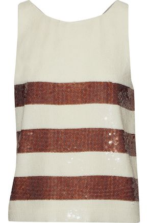 VERONICA BEARD Marigold striped sequined chiffon top