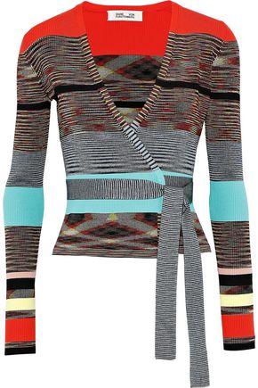 DIANE VON FURSTENBERG Striped ribbed-knit wrap top