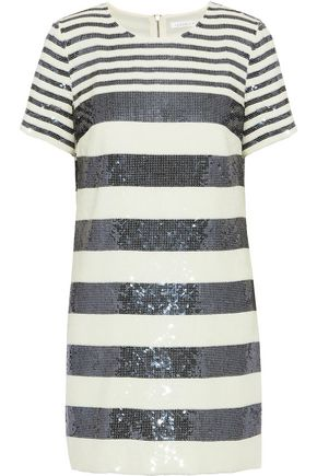 VERONICA BEARD Evan striped sequined chiffon mini dress