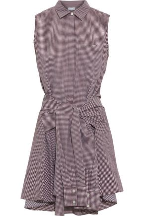 DEREK LAM Tie-front gingham cotton-poplin mini dress