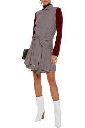 DEREK LAM Tie-front gingham cotton-poplin mini dress
