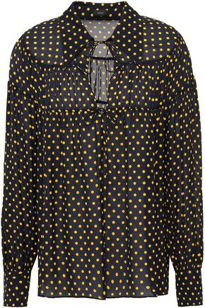 JOSEPH Lace-up polka-dot silk-georgette top