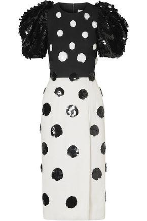 6240f28676 CAROLINA HERRERA Sequin-embellished two-tone crepe dress