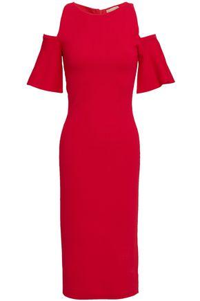 MICHAEL MICHAEL KORS Cold-shoulder stretch-ponte midi dress