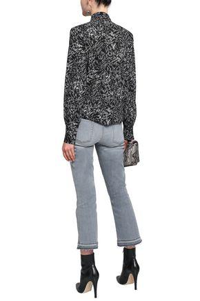 MICHAEL KORS COLLECTION Fringe-trimmed printed silk-crepe blouse