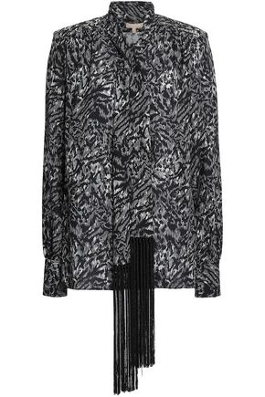 MICHAEL KORS COLLECTION Fringe-trimmed printed silk-crepe blouse