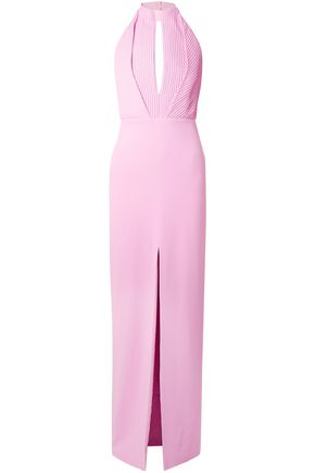 BRANDON MAXWELL Pintucked crepe halterneck gown
