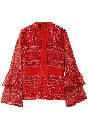 GIAMBATTISTA VALLI Pussy-bow printed silk-georgette blouse