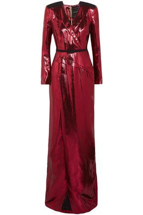 ROLAND MOURET Zodiac belted wrap-effect lamé gown