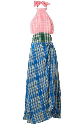 ROSIE ASSOULIN Cutout checked voile midi dress