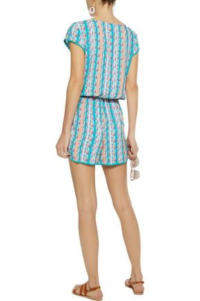 TART COLLECTIONS Knotted printed gauze playsuit