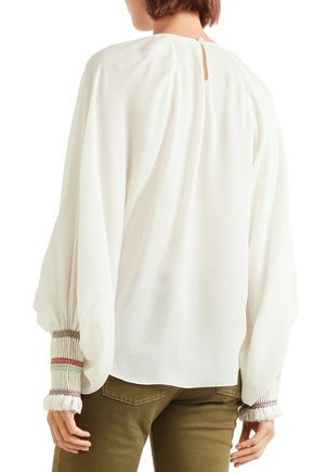 CHLOÉ Braid-trimmed gathered silk-gauze blouse