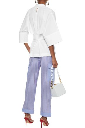 TOME Belted cotton-poplin tunic