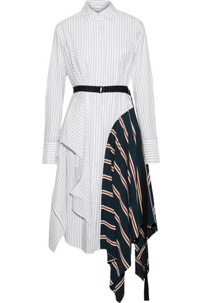 TOME Belted paneled striped cotton-poplin shirt dress