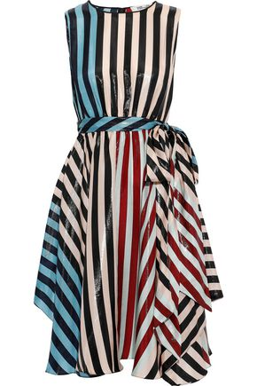DIANE VON FURSTENBERG Belted metallic striped silk-blend dress