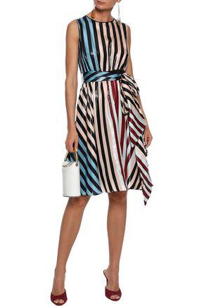 DIANE VON FURSTENBERG Belted metallic striped silk-blend dress