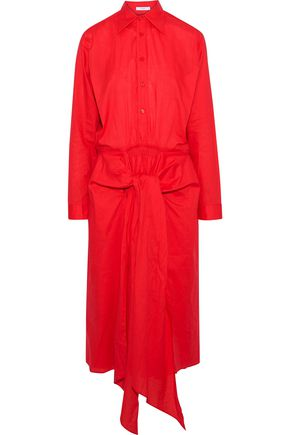 TOME Tie-front cotton-poplin midi shirt dress