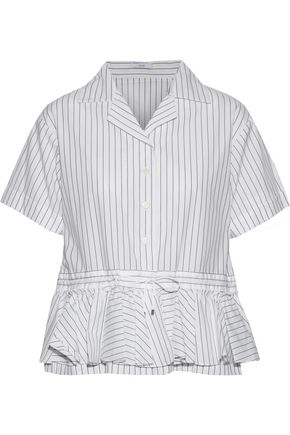 TOME Cabana ruffled pinstriped cotton-poplin peplum shirt