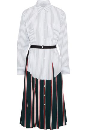 TOME Belted paneled striped cotton-poplin midi shirt dress