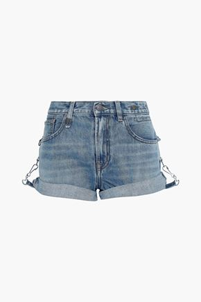 R13 Hook-detailed faded denim shorts