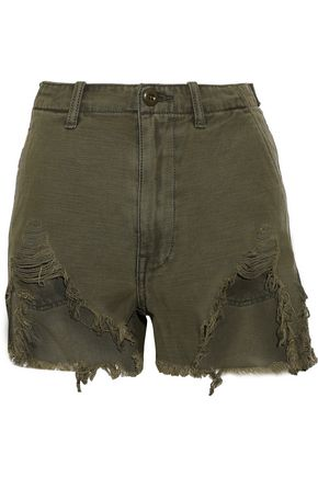 R13 Distressed cotton-canvas shorts