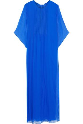 OSCAR DE LA RENTA Pintucked silk-georgette gown