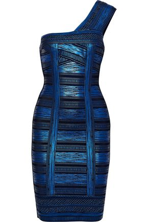 HERVÉ LÉGER One-shoulder metallic printed bandage dress