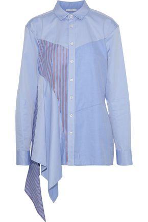 TOME Asymmetric paneled cotton-poplin shirt