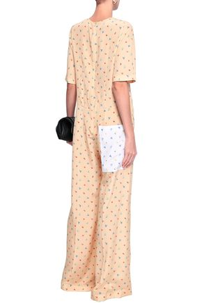 JOSEPH Floral-print two-tone silk crepe de chine jumpsuit
