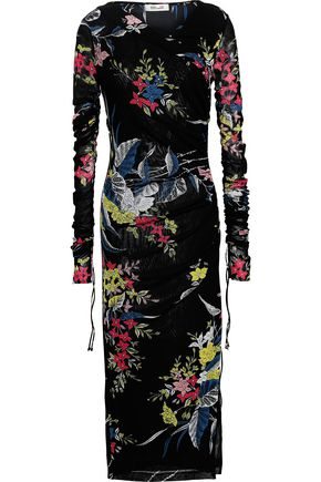 DIANE VON FURSTENBERG Wrap-effect floral-print stretch-mesh midi dress