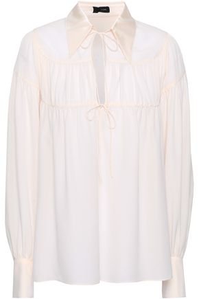 JOSEPH Lace-up satin-crepe shirt